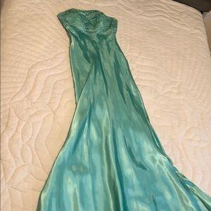 Sea foam green sheath prom dress
